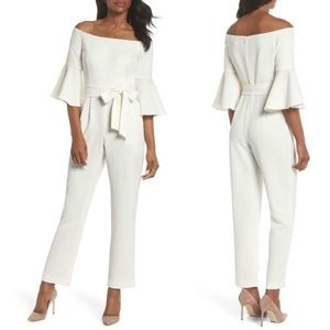 ELIZA J IVORY Off Shoulder BELL SLEEVE JUMPSUIT 10